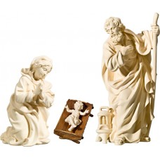 Holy Family with Jesus Child in simple cradle (without base) 10 cm Serie Natural maple