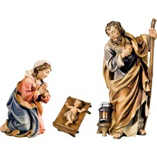 Holy Family with Jesus Child in simple cradle (without base) 10 cm Serie Colored maple
