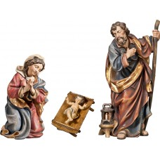 Holy Family with Jesus Child in simple cradle (without base) 50 cm Serie Real Gold antique