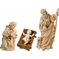 Holy Family with Jesus Child in simple cradle (without base) 50 cm Serie Natural linden