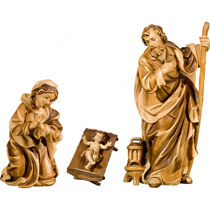 Holy Family with Jesus Child in simple cradle (without base) 50 cm Serie Stained+tones linden