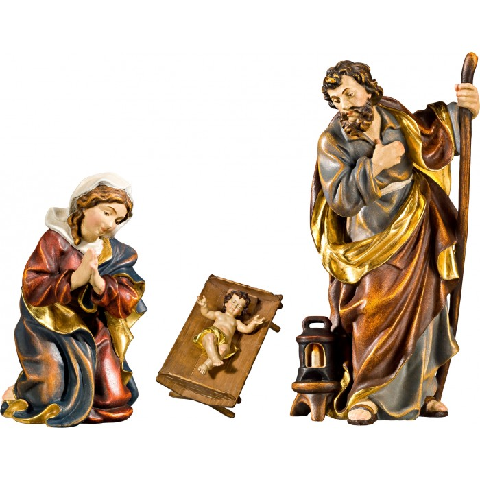 Holy Family with Jesus Child in simple cradle (without base) 40 cm Serie Real Gold new