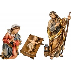 Holy Family with Jesus Child in simple cradle (without base) 50 cm Serie Colored linden