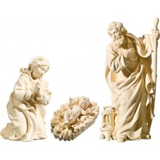 Holy Family with Jesus Child in carved cradle (without base) 10 cm Serie Natural maple
