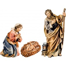 Holy Family with Jesus Child in carved cradle (without base) 10 cm Serie Colored maple