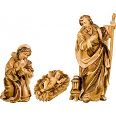 Holy Family with Jesus Child in carved cradle (without base) 12 cm Serie Stained+tones maple