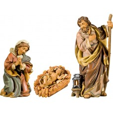 Holy Family with Jesus Child in carved cradle (without base) 18 cm Serie Antique