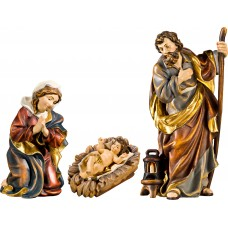 Holy Family with Jesus Child in carved cradle (without base) 32 cm Serie Real Gold new