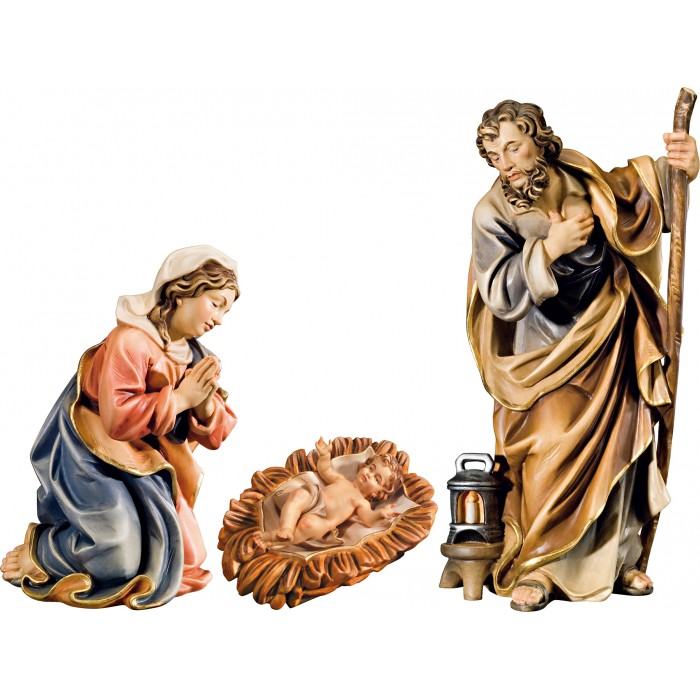 Holy Family with Jesus Child in carved cradle (without base) 12 cm Serie Colored maple