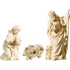 Holy Family with Jesus Child fixed in cradle (without base) 10 cm Serie Natural maple