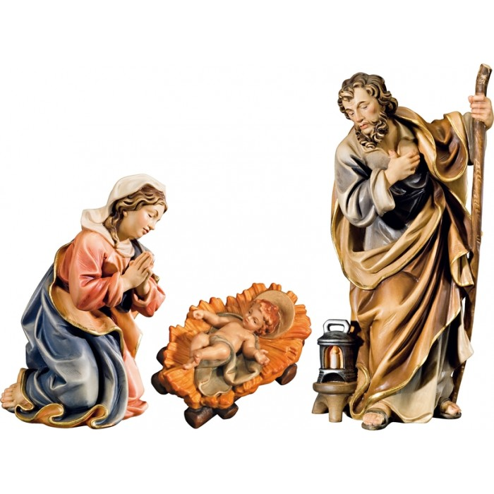 Holy Family with Jesus Child fixed in cradle (without base) 12 cm Serie Colored maple