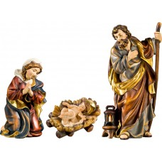 Holy Family with Jesus Child fixed in cradle (without base) 27 cm Serie Real Gold new