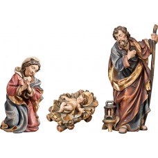 Holy Family with Jesus Child fixed in cradle (without base) 50 cm Serie Real Gold antique