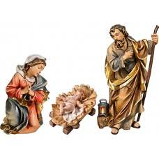Holy Family with Jesus Child fixed in cradle (without base) 50 cm Serie Colored linden