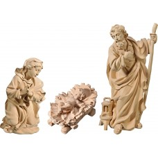 Holy Family with Jesus Child fixed in cradle (without base) 50 cm Serie Natural linden