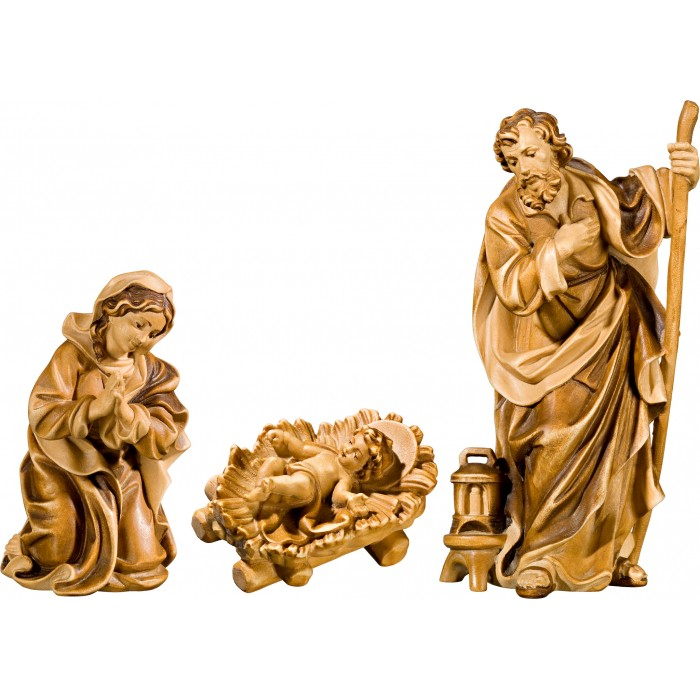 Holy Family with Jesus Child fixed in cradle (without base) 50 cm Serie Stained+tones linden