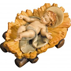 Jesus child fixed in cradle 10 cm Serie Colored maple