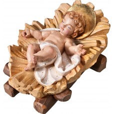 Jesus child fixed in cradle 50 cm Serie Colored linden