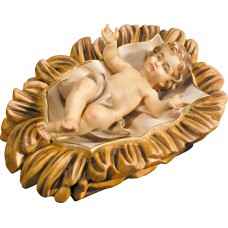Jesus Child in carved cradle 10 cm Serie Colored maple