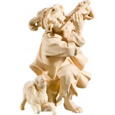 Herdsman knelling with flute and lamb 40 cm Serie Natural maple