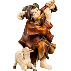 Herdsman knelling with flute and lamb 40 cm Serie Real Gold new