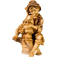 Herdsman sitting with bagpipe 27 cm Serie Stained+tones maple