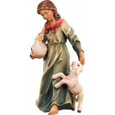Herdswoman with lamb and duck 10 cm Serie Colored maple