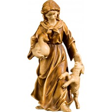 Herdswoman with lamb and duck 27 cm Serie Stained+tones maple