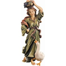 Herdswoman with goose and fruits 10 cm Serie Colored maple