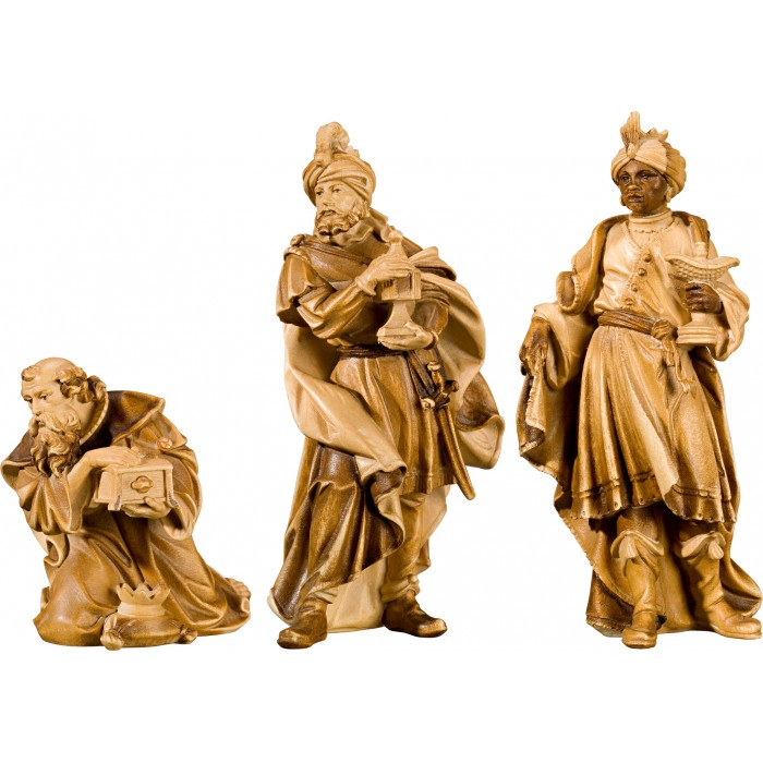 Holy 3 Kings (without base) 50 cm Serie Stained+tones linden