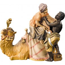 Camel loading with servants 10 cm Serie Colored maple
