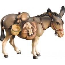 Donkey with baggage 10 cm Serie Colored maple