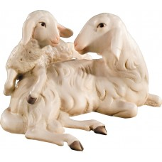 Sheep group lying (without base) 12 cm Serie Colored maple