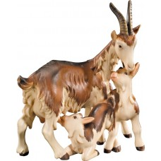 Goat three-group 12 cm Serie Colored maple