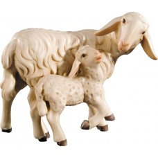 Sheep with lamb 12 cm Serie Colored maple