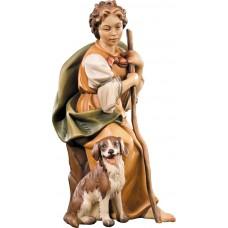 Herdswoman with dog 10 cm Serie Colored maple