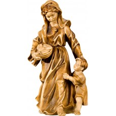 Herdswoman with kid 40 cm Serie Stained+tones maple