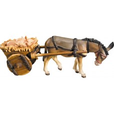 Donkey with cart and piglets 10 cm Serie Colored maple