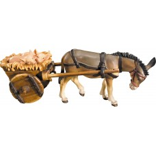 Donkey with cart and piglets 12 cm Serie [7x18,2cm] Colored maple