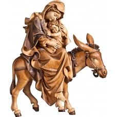 Mary on donkey for flight to Egypt 70 cm Serie Stained+tones linden