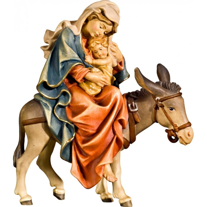 Mary on donkey for flight to Egypt 70 cm Serie Colored linden