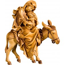 Mary on donkey for flight to Egypt 27 cm Serie Stained+tones maple