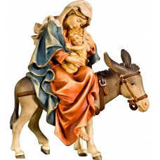 Mary on donkey for flight to Egypt 12 cm Serie Colored maple