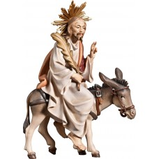 Jesus with palms on donkey (without base) 12 cm Serie Colored maple