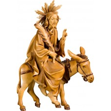 Jesus with palms on donkey (without base) 27 cm Serie Stained+tones maple