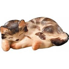 Kitten lying 12 cm Serie [1,2x2,8cm] Colored maple