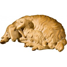 Double sheep lying 27 cm Serie Stained+tones maple