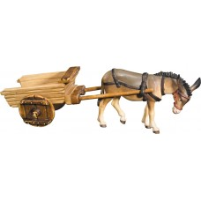 Donkey with empty cart 12 cm Serie Colored maple