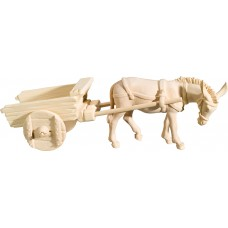 Donkey with empty cart 18 cm Serie [9x26cm] Natural maple