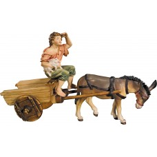 Donkey with cart and herdsman 12 cm Serie Colored maple